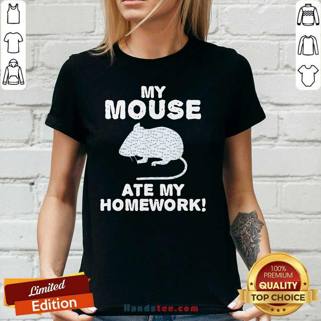 Cute My Mouse Ate My Homework Rodent 2 V-neck - Design by Handstee.com