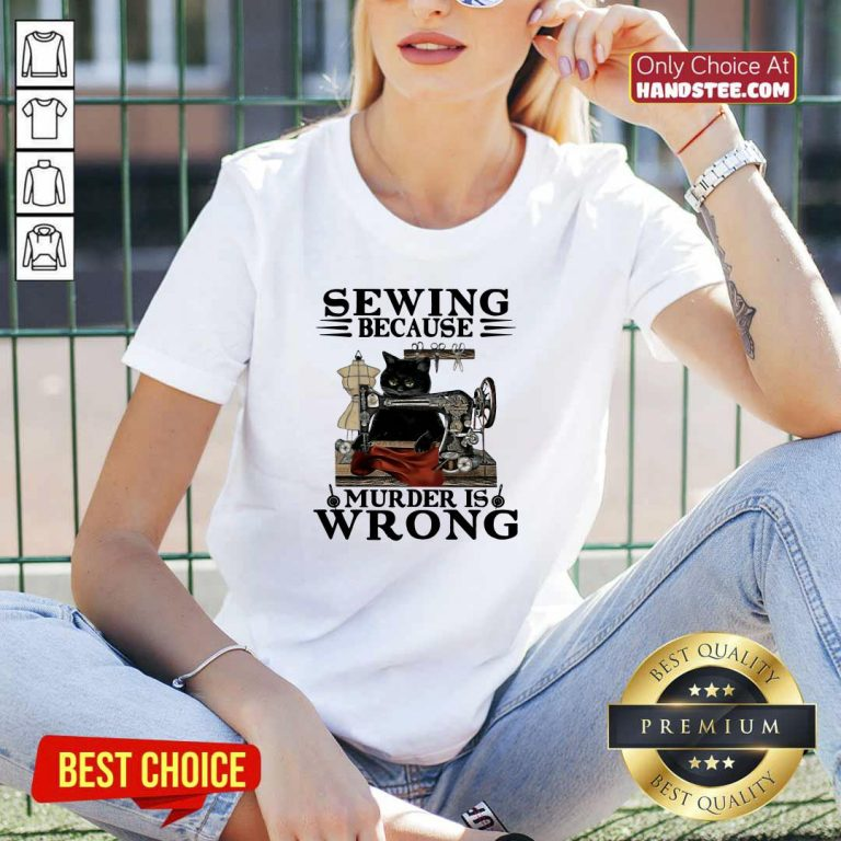 Cute Sewing 5 Murder Is Wrong V-neck - Design by Handstee.com