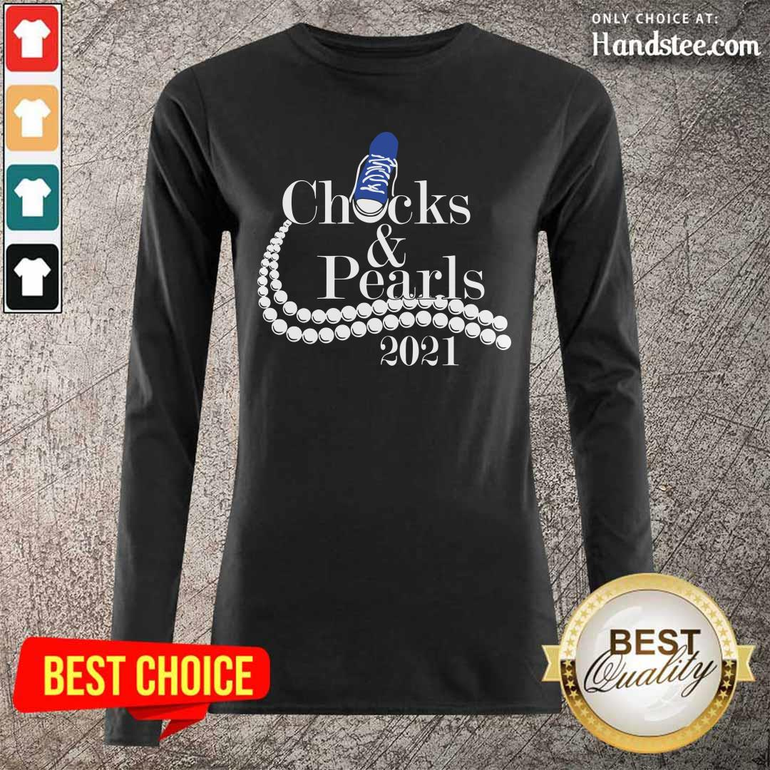 Emotional Pearls Blue Sneakers Checks And 9 Pearls 2021 Long-Sleeved - Design by Handstee.com