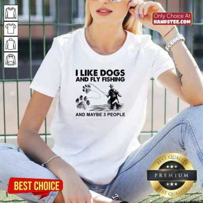 Funny 6 I Like Dogs And Fishing V-neck - Design by Handstee.com