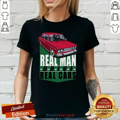 Happy 2 Real Man Drive Real Cars Red Ladies Tee