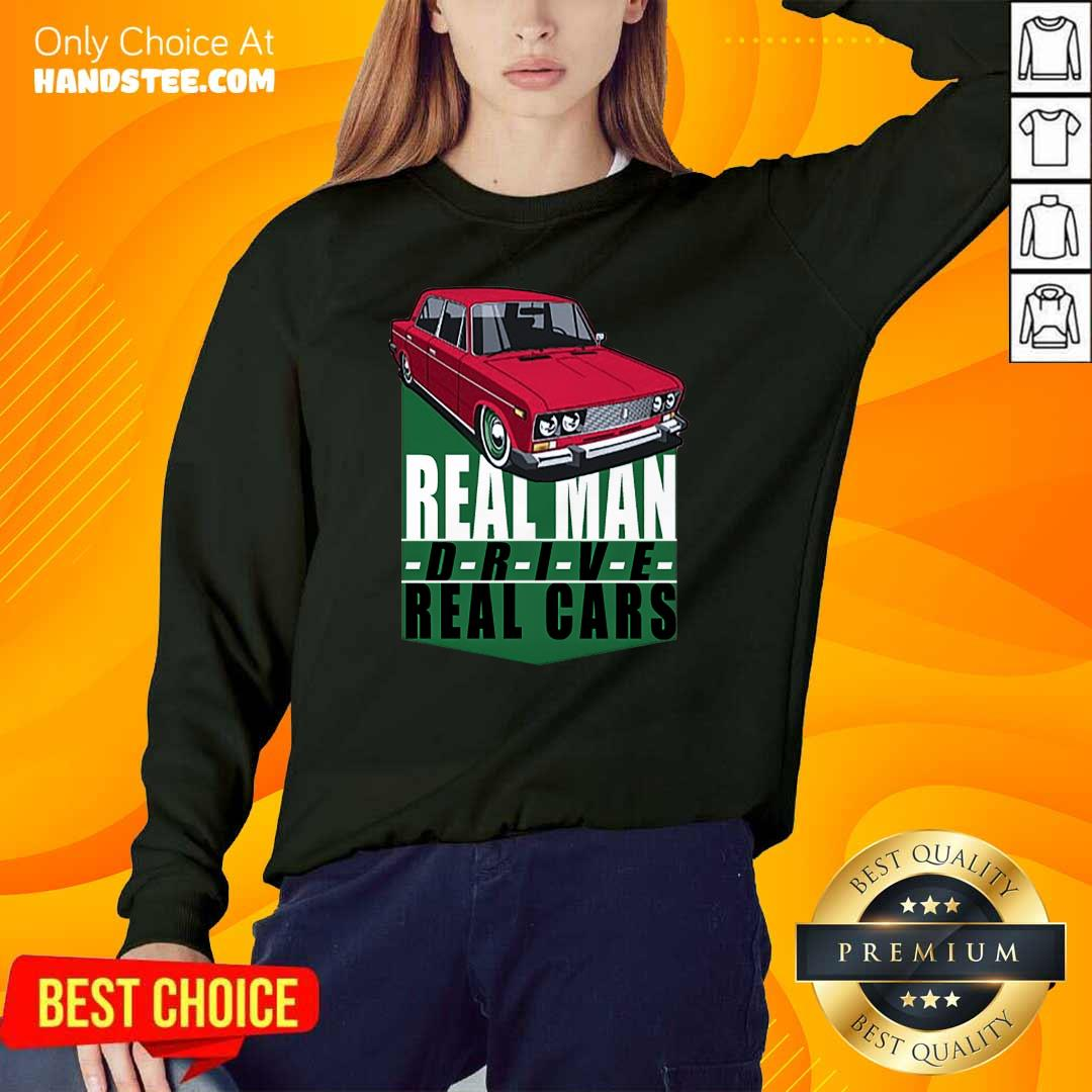 Happy 2 Real Man Drive Real Cars Red Sweater