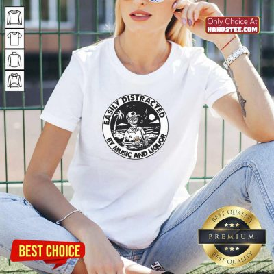 Happy Easily Distracted By Music 66 Liquor V-neck - Design by Handstee.com