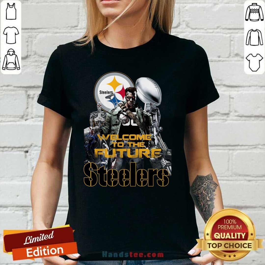 Intrigued Welcome To The Future 27 Pittsburgh Steelers Ladies Tee - Design by Handstee.com