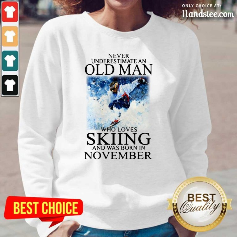 Irritated Old Man Who Loves Skiing Was Born In November 1 Long-Sleeved