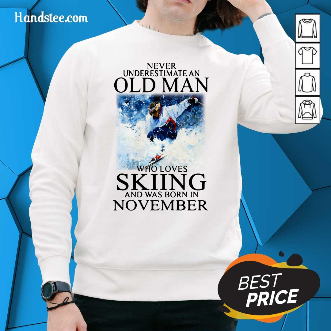 Irritated Old Man Who Loves Skiing Was Born In November 1 Sweater