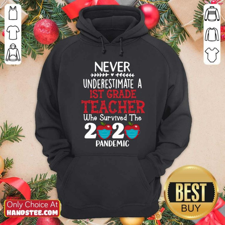 Never Underestimate A 1st Grade Teacher Who Survived 2020 Pandemic Hoodie - Design by handstee.com