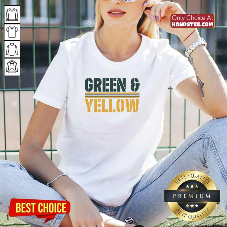 New 2 Green And Yellow Bay V-neck - Design by Handstee.com