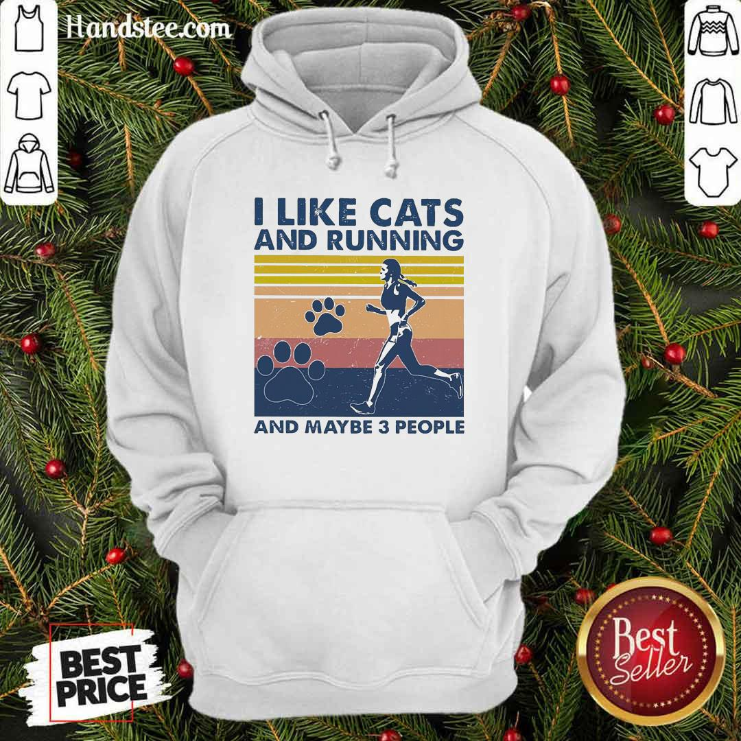 Nice I Like Cats And Running And Maybe 3 People Vintage Hoodie - Design by handstee.com