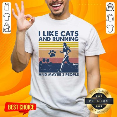 Nice I Like Cats And Running And Maybe 3 People Vintage Shirt - Design by handstee.com