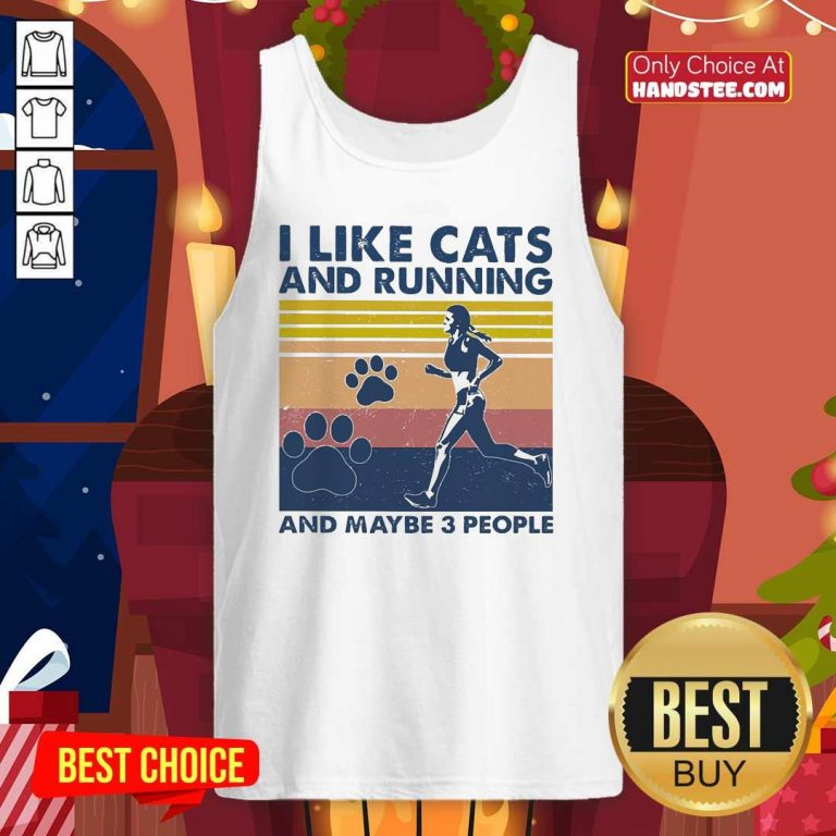 Nice I Like Cats And Running And Maybe 3 People Vintage Tank Top - Design by handstee.com