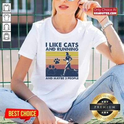 Nice I Like Cats And Running And Maybe 3 People Vintage V-neck - Design by handstee.com