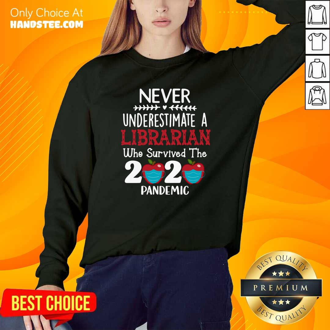 Official Never Underestimate Librarian Survived 2020 Pandemic Sweatshirt - Design by handstee.com