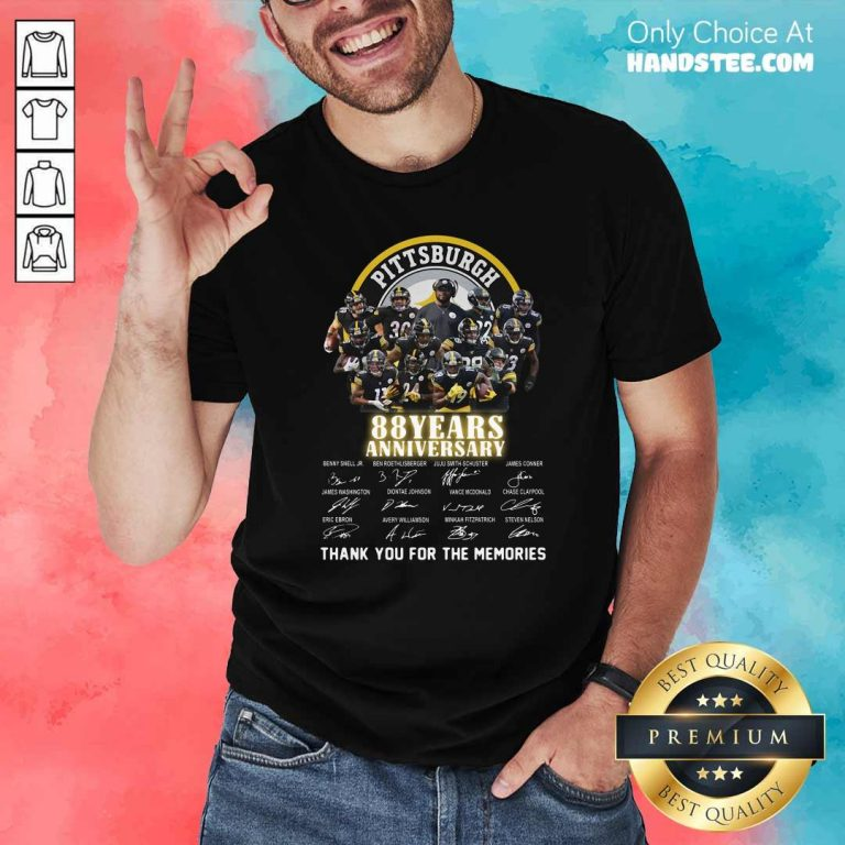 Pittsburgh Steelers 88 Years Anniversary Thank You For The Memories Signatures Shirt - Design by handstee.com