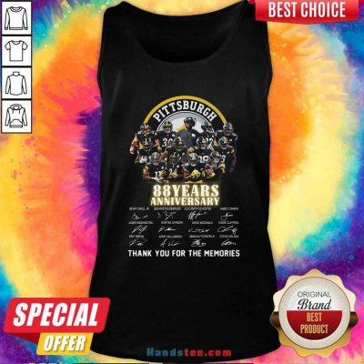 Pittsburgh Steelers 88 Years Anniversary Thank You For The Memories Signatures Tank Top - Design by handstee.com