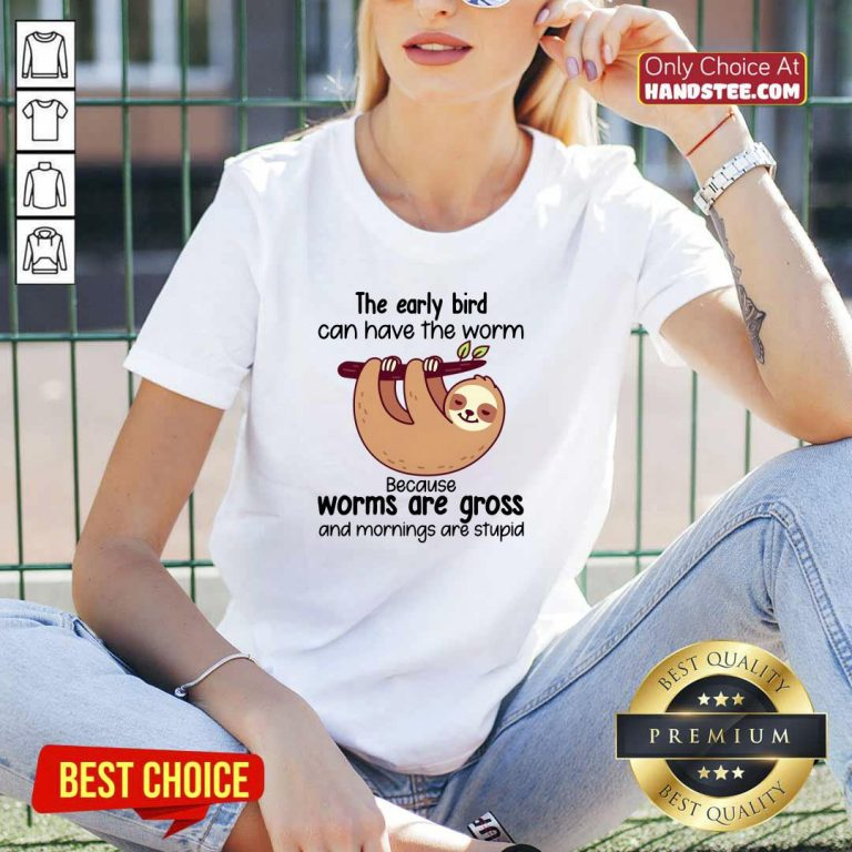 Pretty Early Bird Can Have 3 Worm V-neck - Design by Handstee.com