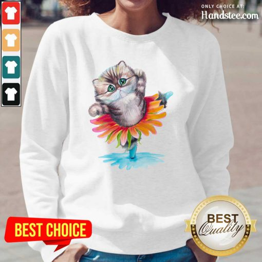 Sad Kitten Ballerina Daisy Flower Dance Persian 17 Cat Long-Sleeved - Design by Handstee.com