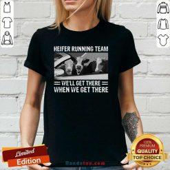 Surprised Heifer 1 Running Team V-neck - Design by Handstee.com