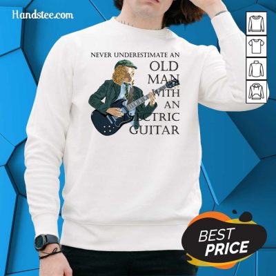 Surprised Never Underestimate 12 An Old Man With An Electric Guitar Sweater - Design by Handstee.com