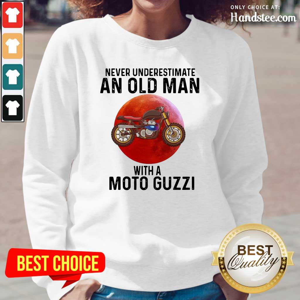 Tense Old Man With A Moto Guzzi 3 Long-Sleeved