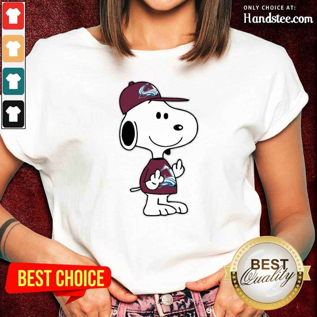 Tense Snoopy Colorado Avalanche NHL Double Middle Fingers 8 Ladies Tee
