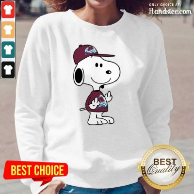 Tense Snoopy Colorado Avalanche NHL Double Middle Fingers 8 Long-Sleeved