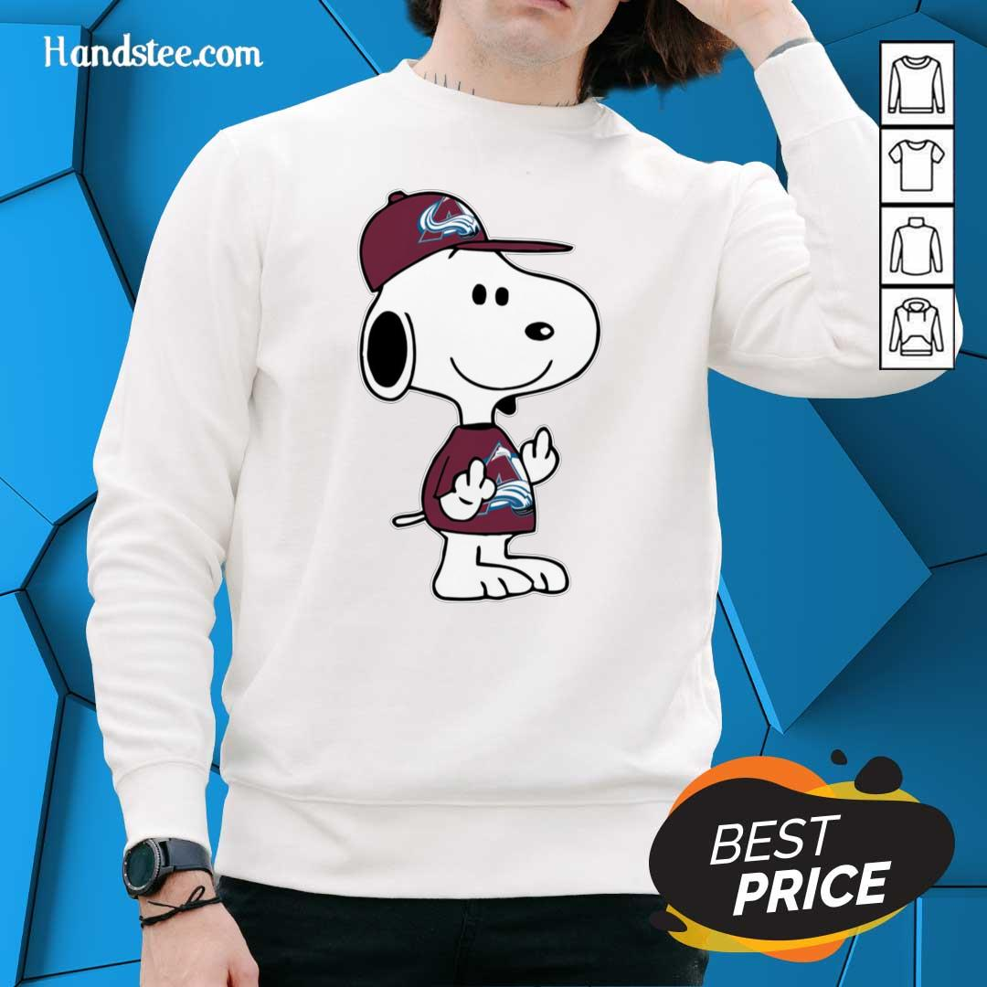 Tense Snoopy Colorado Avalanche NHL Double Middle Fingers 8 Sweater