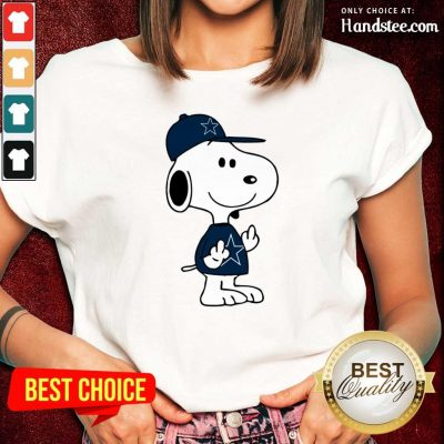 Tense Snoopy Dallas Cowboys NFL Double Middle Fingers 5 Ladies Tee