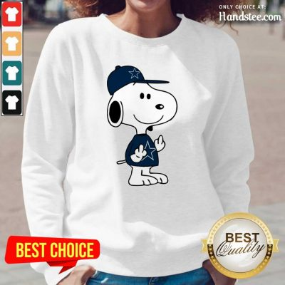 Tense Snoopy Dallas Cowboys NFL Double Middle Fingers 5 Long-Sleeved