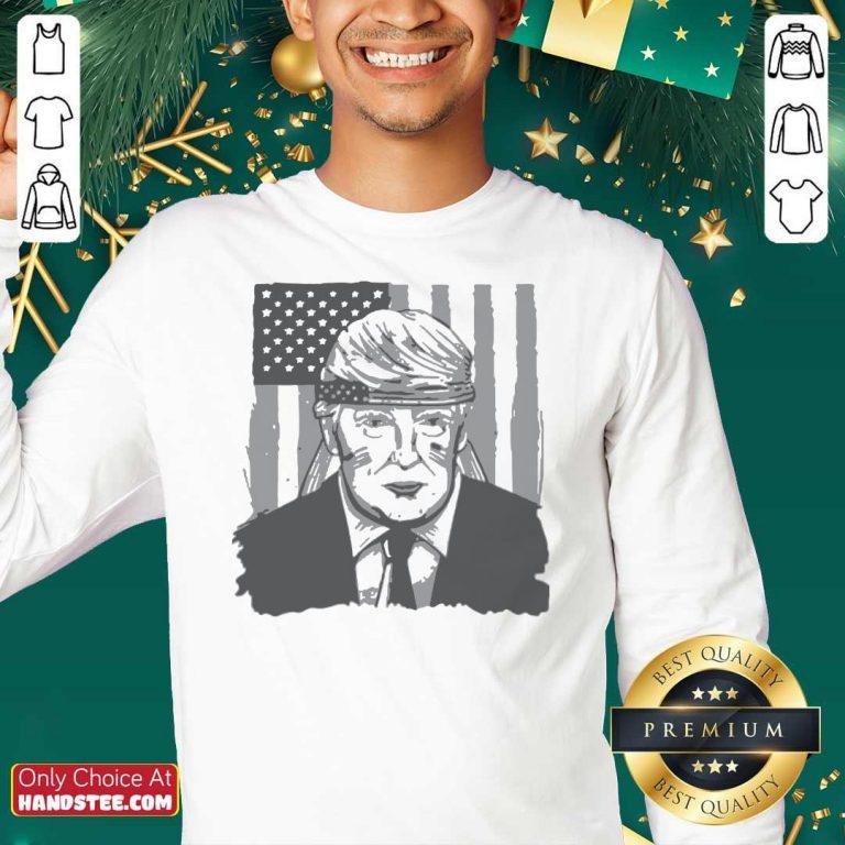 Top America Ribbon Usa Flag Donald Trump 2020 Graphic Sweatshirt - Design by handstee.com