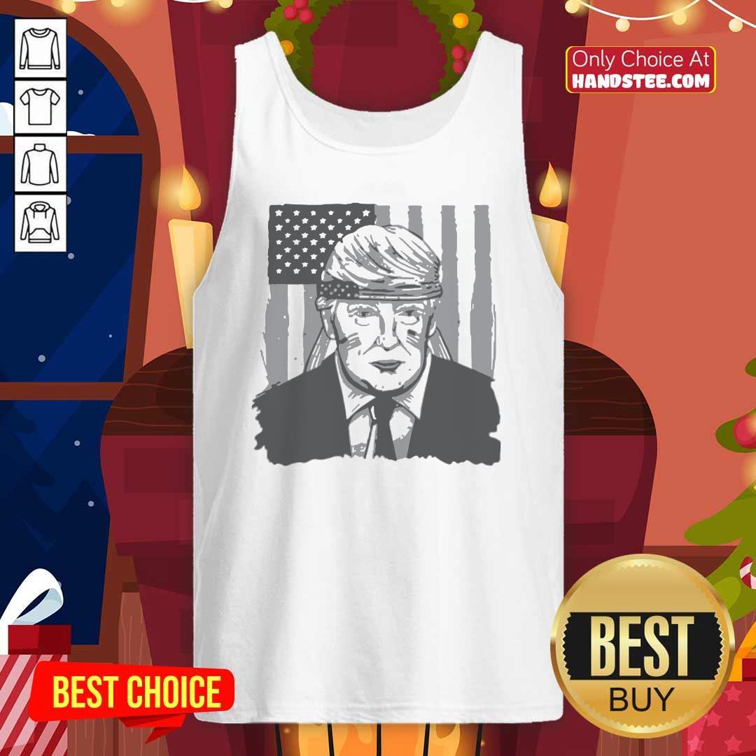 Top America Ribbon Usa Flag Donald Trump 2020 Graphic Tank top - Design by handstee.com