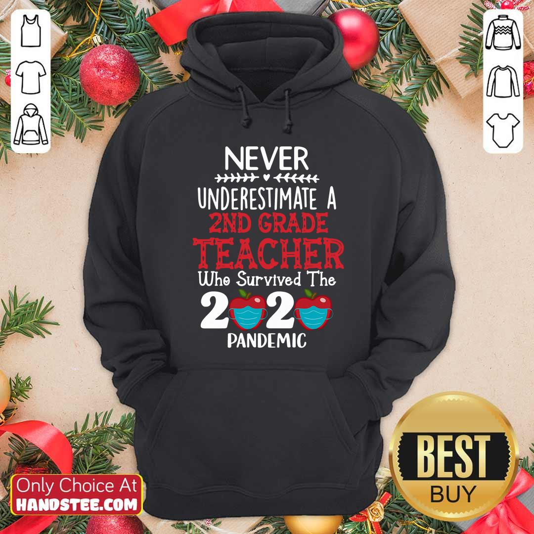 Top Never Underestimate A 2nd Grade Teacher Survived 2020 Pandemic Hoodie - Design by handstee.com