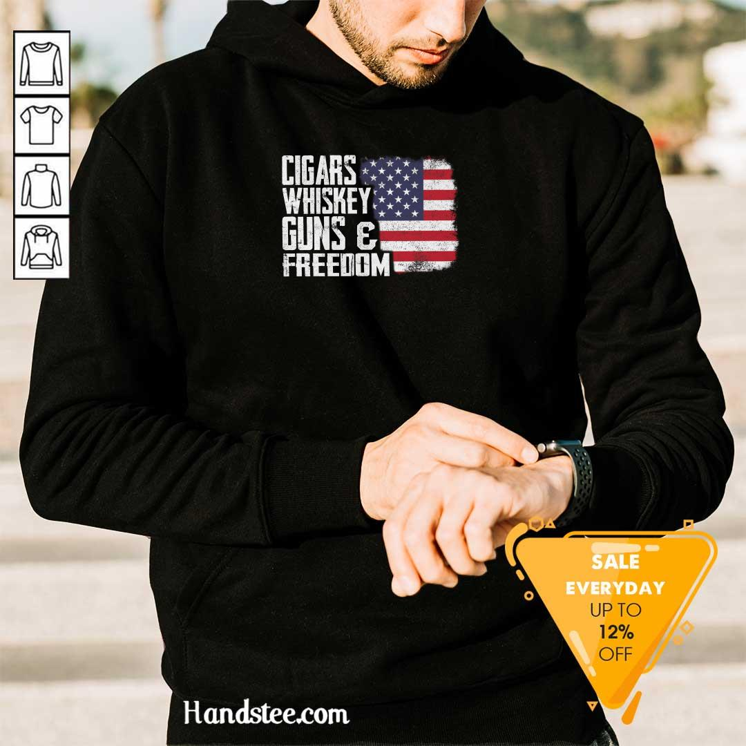 Cool Cigars Whiskey 9 Guns And Freedom Hoodie - Design by Handstee.com