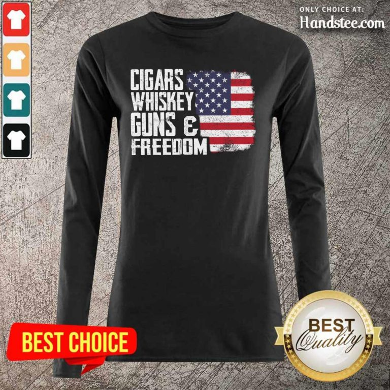 Cool Cigars Whiskey 9 Guns And Freedom Long Sleeved - Design by Handstee.com