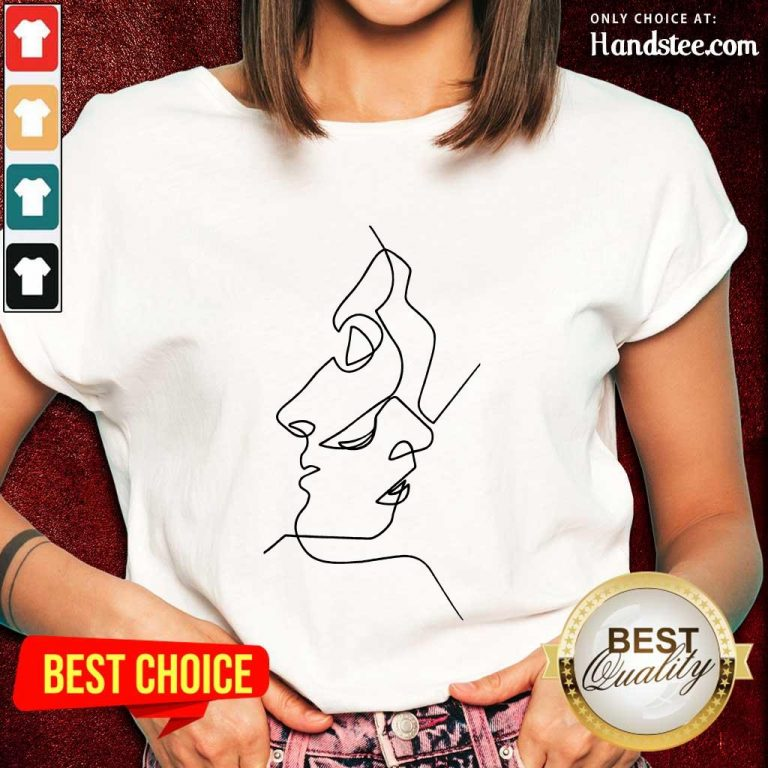 Enthusiastic Abstract Face Design Art Ladies Tee