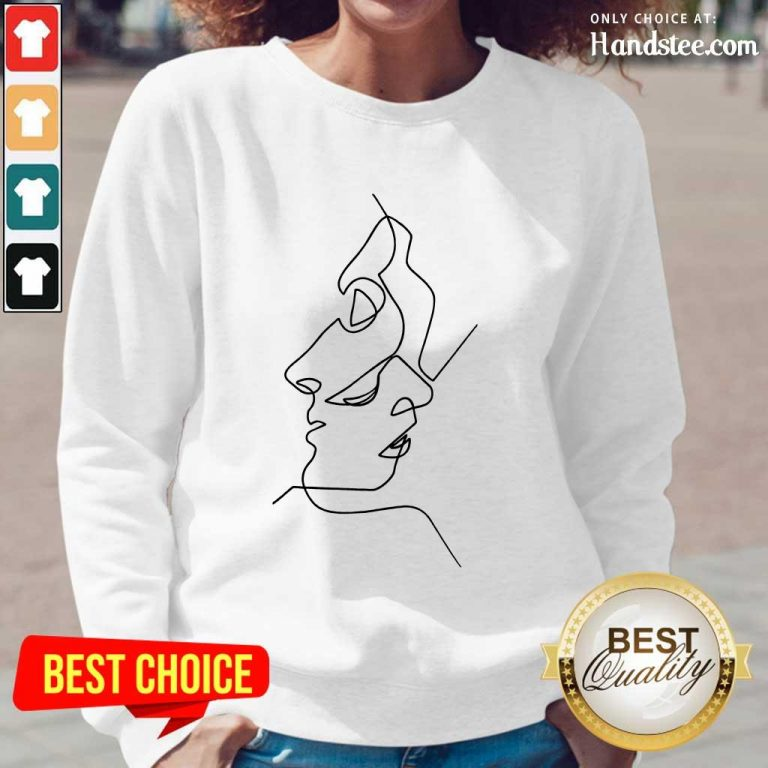 Enthusiastic Abstract Face Design Art Long-Sleeved
