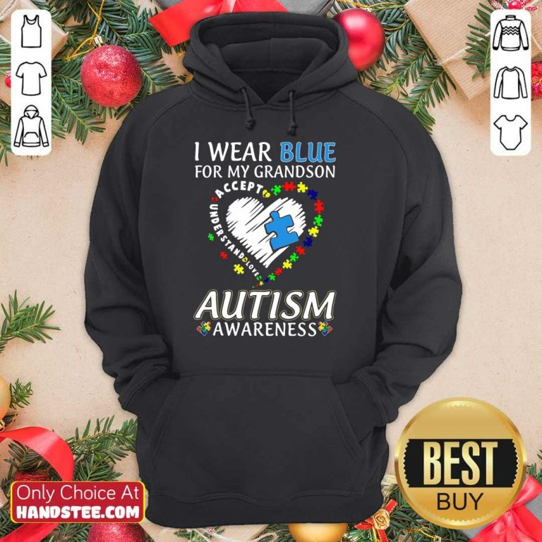 Excited I Wear Blue For My Grandson Hoodie