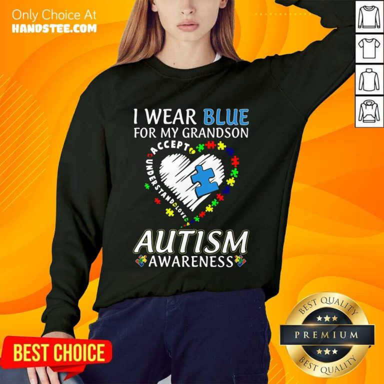 Excited I Wear Blue For My Grandson Sweater
