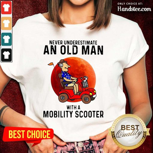 Excited Old Man A Mobility Scooter 1 Ladies Tee - Design By Handstee.com