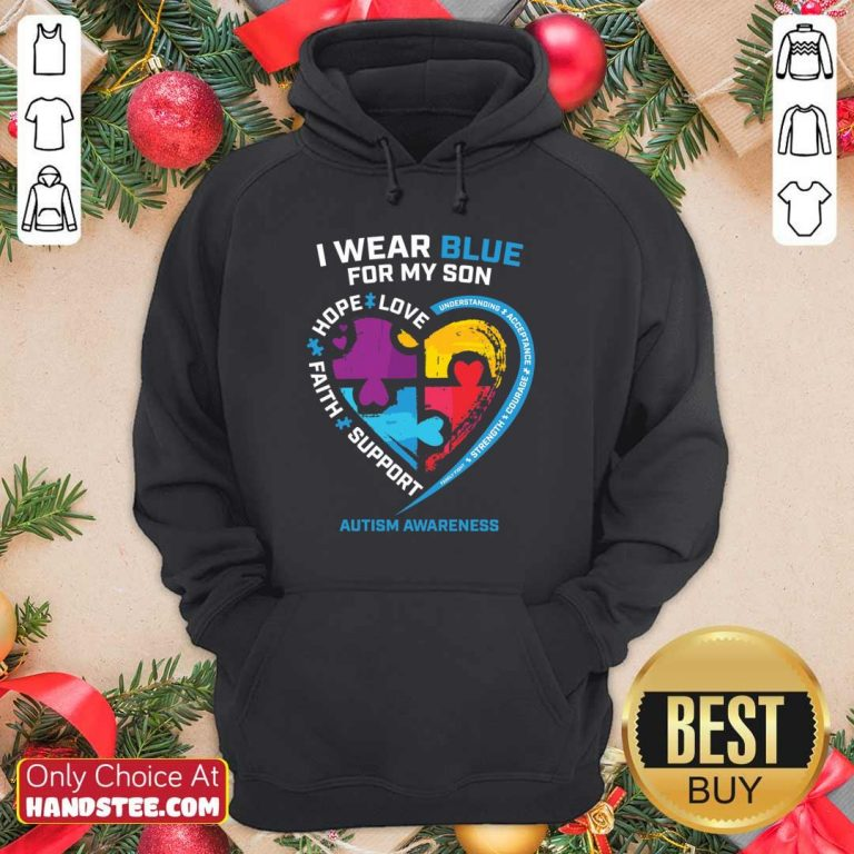 Happy 1 I Wear Blue For My Son Hoodie - Design By Handstee.com