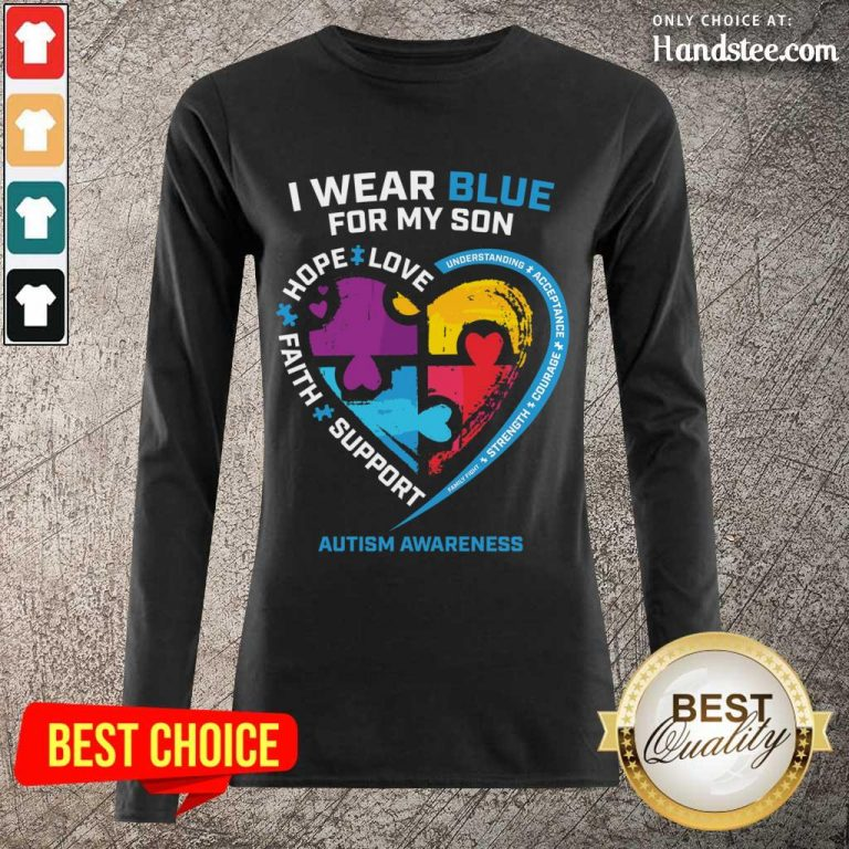 Happy 1 I Wear Blue For My Son Long-Sleeved - Design By Handstee.com