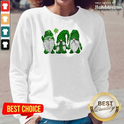 Pretty St Patricks Day Three Gnomes Long-Sleeved - Design by Handstee.com