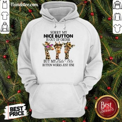 Amused Giraffe Sorry My Nice Button Is Out Of Order But My Bite Me Button Work Just Fine Hoodie