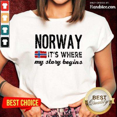 Amused Norway It's Where My Story Begins Ladies Tee