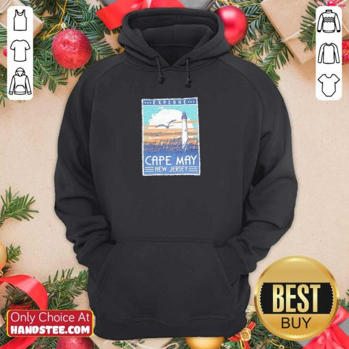 Funny Explore Cape May New Jersey Lighthouse Poster Hoodie