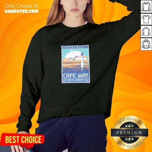 Funny Explore Cape May New Jersey Lighthouse Poster Sweater