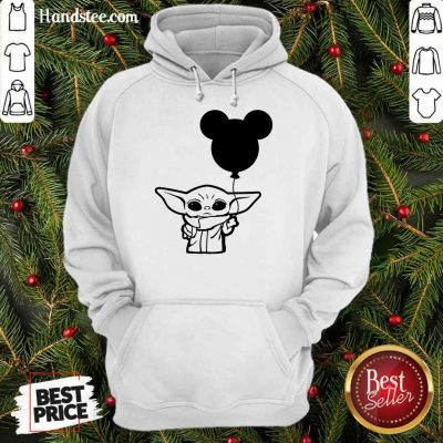 Star Wars Baby Yoda Holding Balloon Mickey Mouse Hoodie