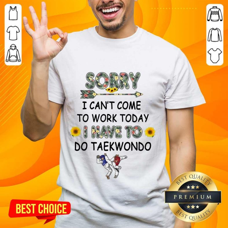 Top Sorry I Can't I Come To Work Today I Have To Taekwondo Shirt
