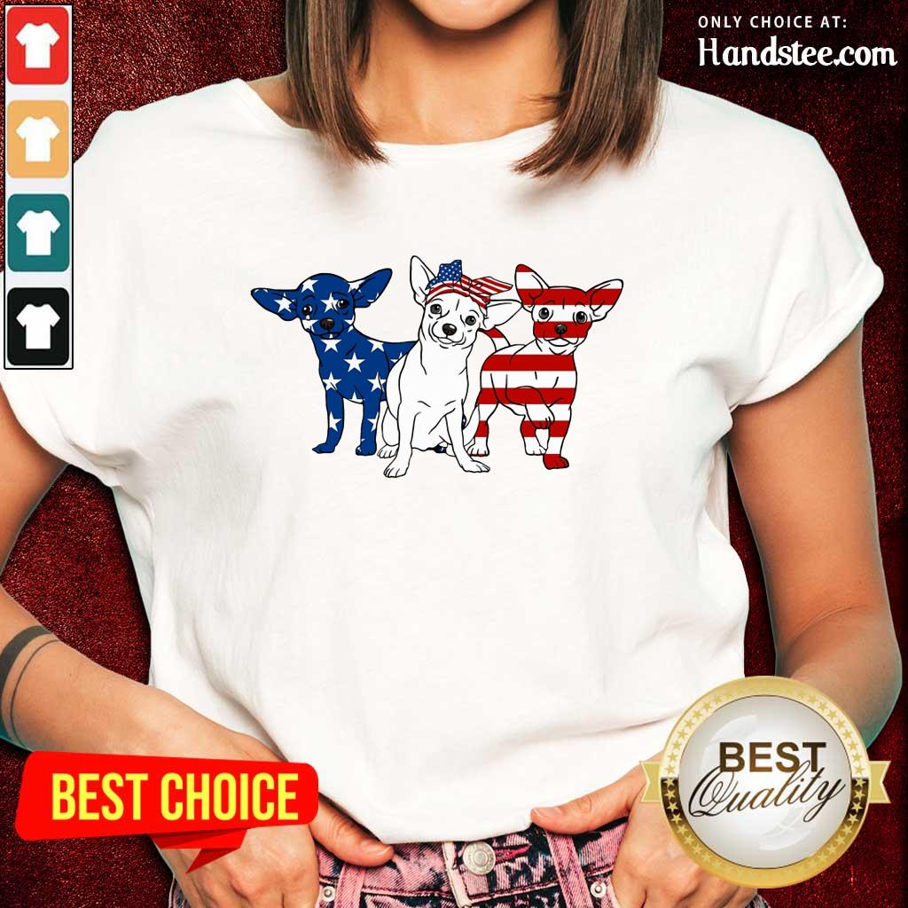 Chihuahua American Independence Day Ladies Tee