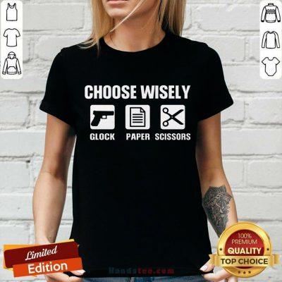 Choose Wisely Glock Paper Scissors V-neck